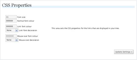 WP-dTree 3.3.2の設定画面(表示CSS)