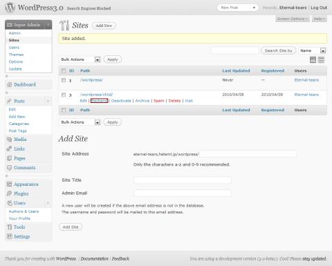 WordPress3.0の子サイトを作る方法③