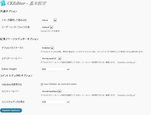 CKEditor For WordPressの設定画面2