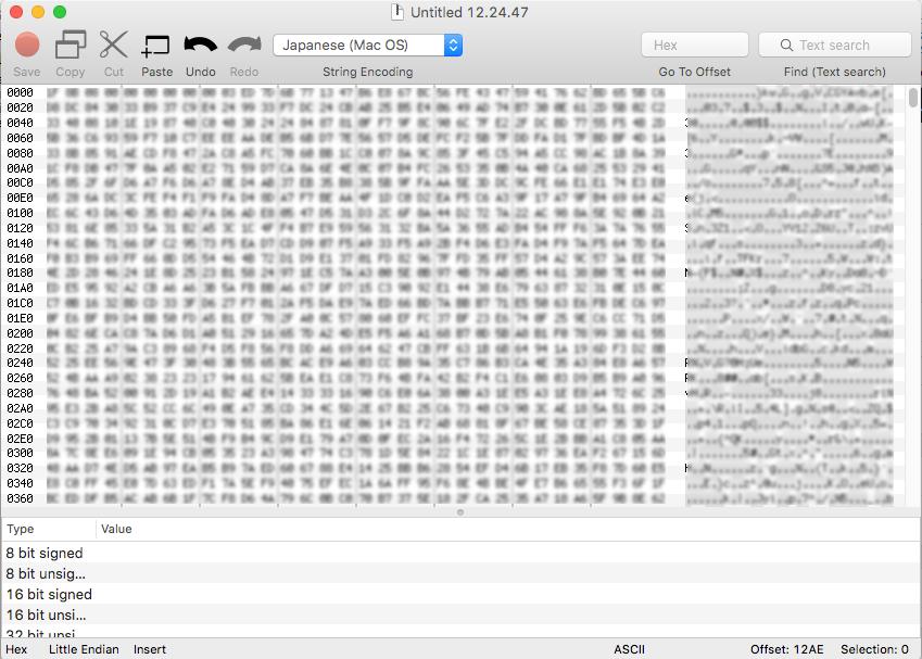 0xEDにデータをペースト